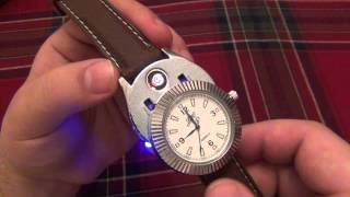 "BADA$$ Watch With Electric Lighter Hidden Inside + Electric Lighter For Your ""Water Pipe"""