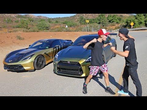 GOLD CORVETTE vs TANNER FOX GTR! *race*