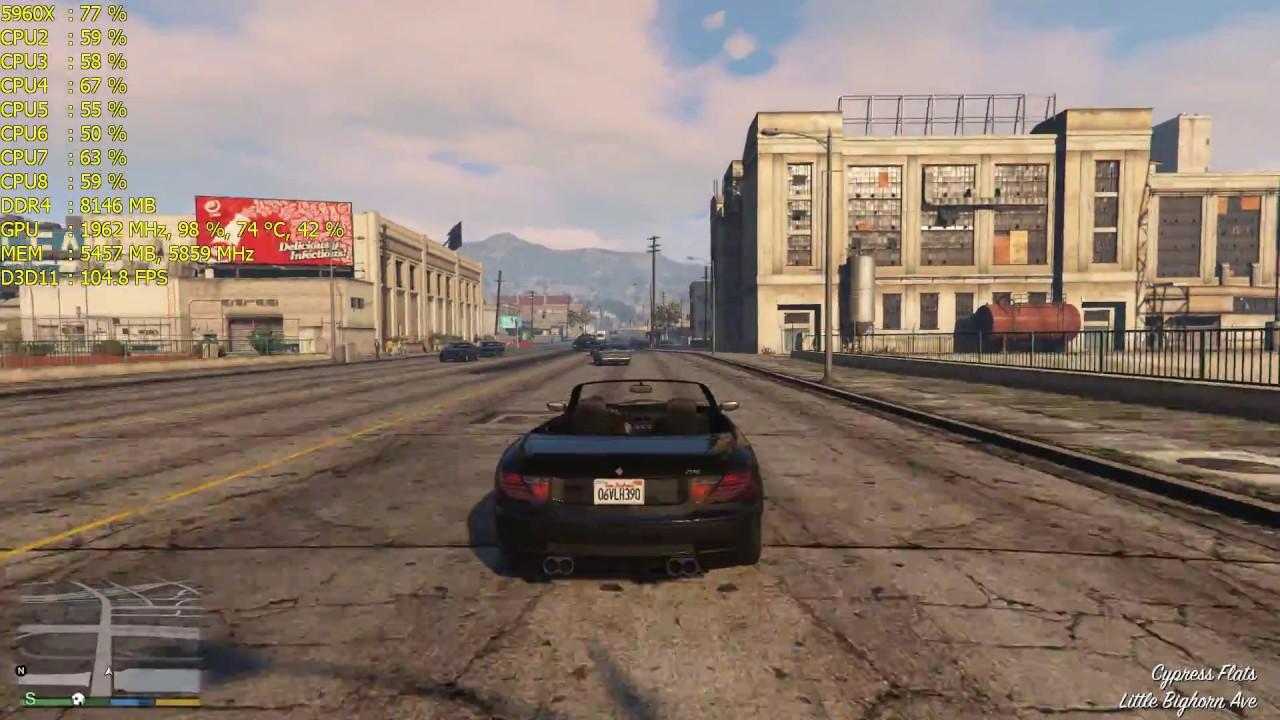 Grand Theft Auto V Gtx 1080 Ti Fps Performance Msaa8x Msaa4x 1080p