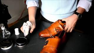 ASMR How I shine Allen Edmonds walnut color St John's double monkstrap leather dress shoes
