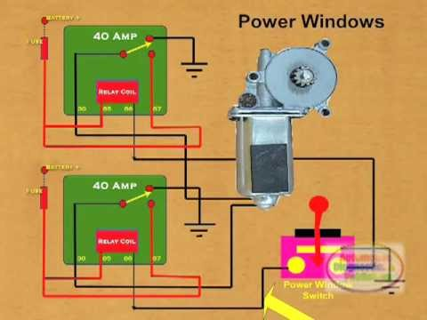 how to wire a power window relay youtube rh youtube com Power Window Motor Wiring Power Window Motor Schematic