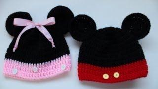 Repeat youtube video Easy to Crochet Mickey and Minnie Disney Inspired beanies - Yolanda Soto Lopez