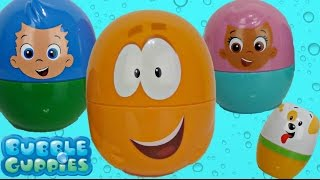 bubble guppies nick jr nesting dolls stacking cups peppa pig kinder eggs toy surprises tuyc