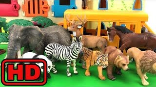 Kid -Kids -ZOO Animals Getting Of Playmobil School Bus/Schleich Safari Animal Lot/Fun Video For Bab