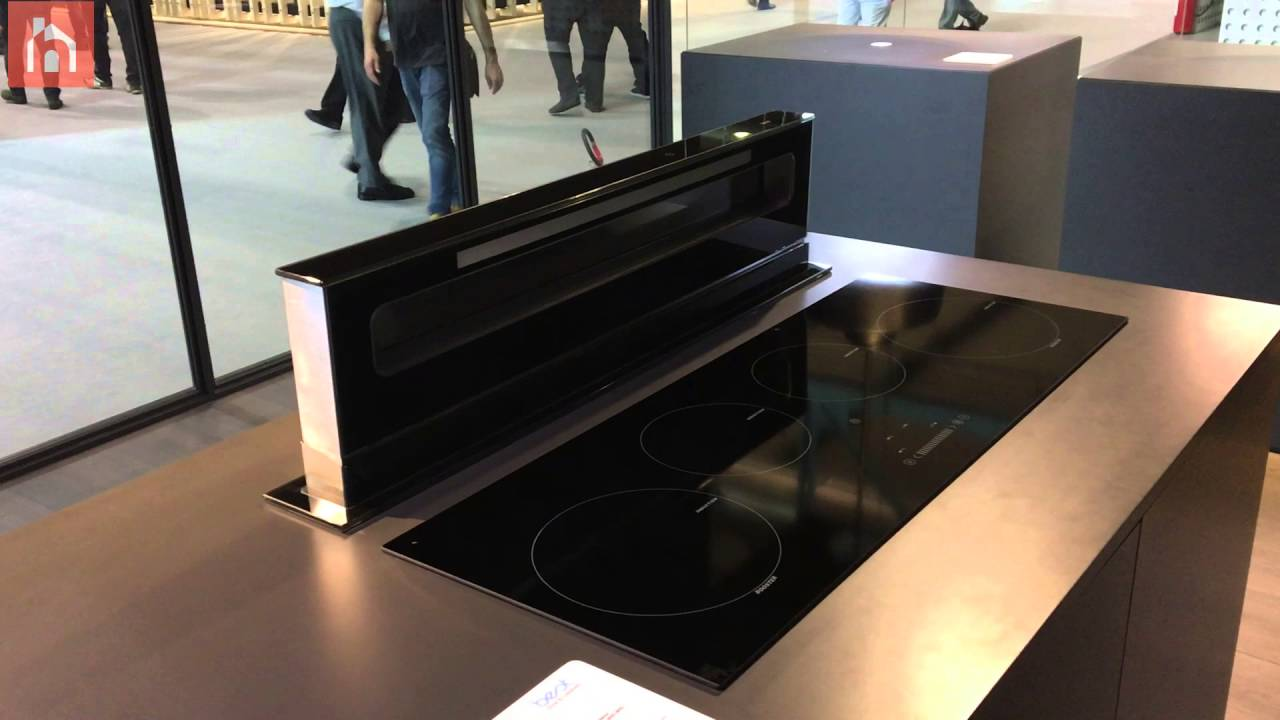 Kitchen hood retracts into the counter