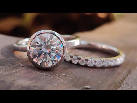 3.42-tcw-round-moissanite-bezel-set-ring-with-full-eternity-band- -bridal-set- -10-kt-white-gold