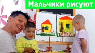 Как нарисовать ДОМ красками для детей / Урок рисования красками