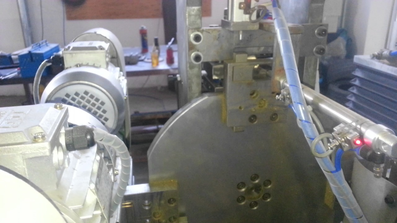 video 5  padlock body cutting ,logo stamping and milling(both sides) 黄铜挂锁开料,打logo平面机