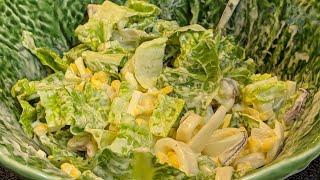 Простой салат с Кальмарами и Яйцом