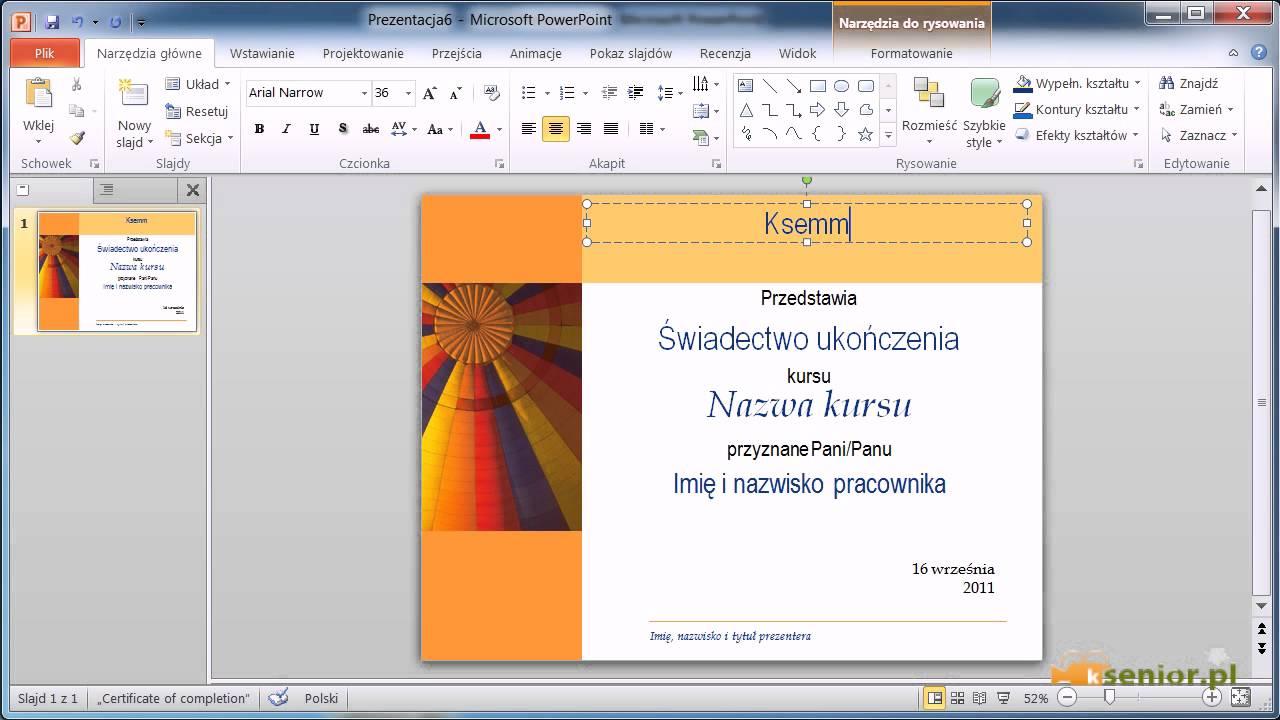 Microsoft Powerpoint 20072010 Efektowny Dyplom Youtube