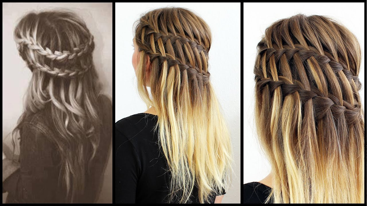 Doppelter Waterfall Braid Frisuren Freitag