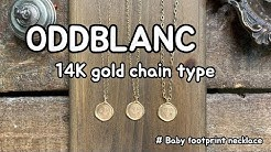 ODDBLANC 14K gold chain type with baby footprint necklace