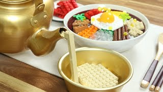 Lego Bibimbap and Makgeolli - LEGO in Real Life / Stop Motion Cooking