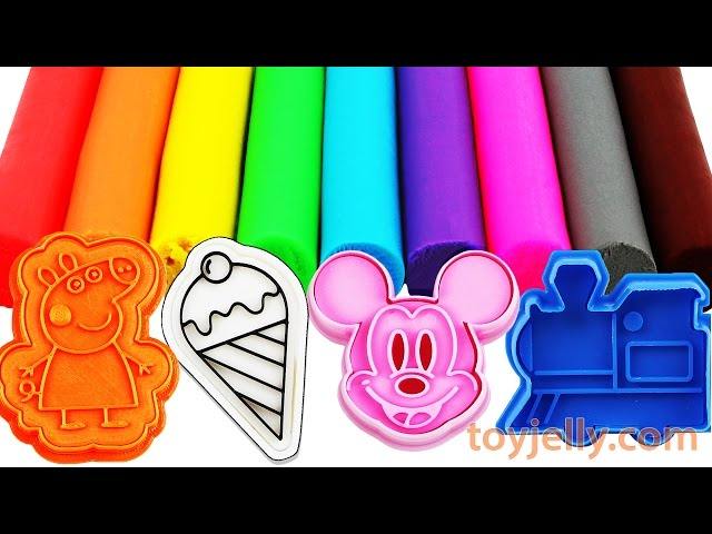 Learn Colors Play Doh Modeling Clay Peppa Pig, Ice Cream, Micky Mouse Cookie Cutter Cars Molds