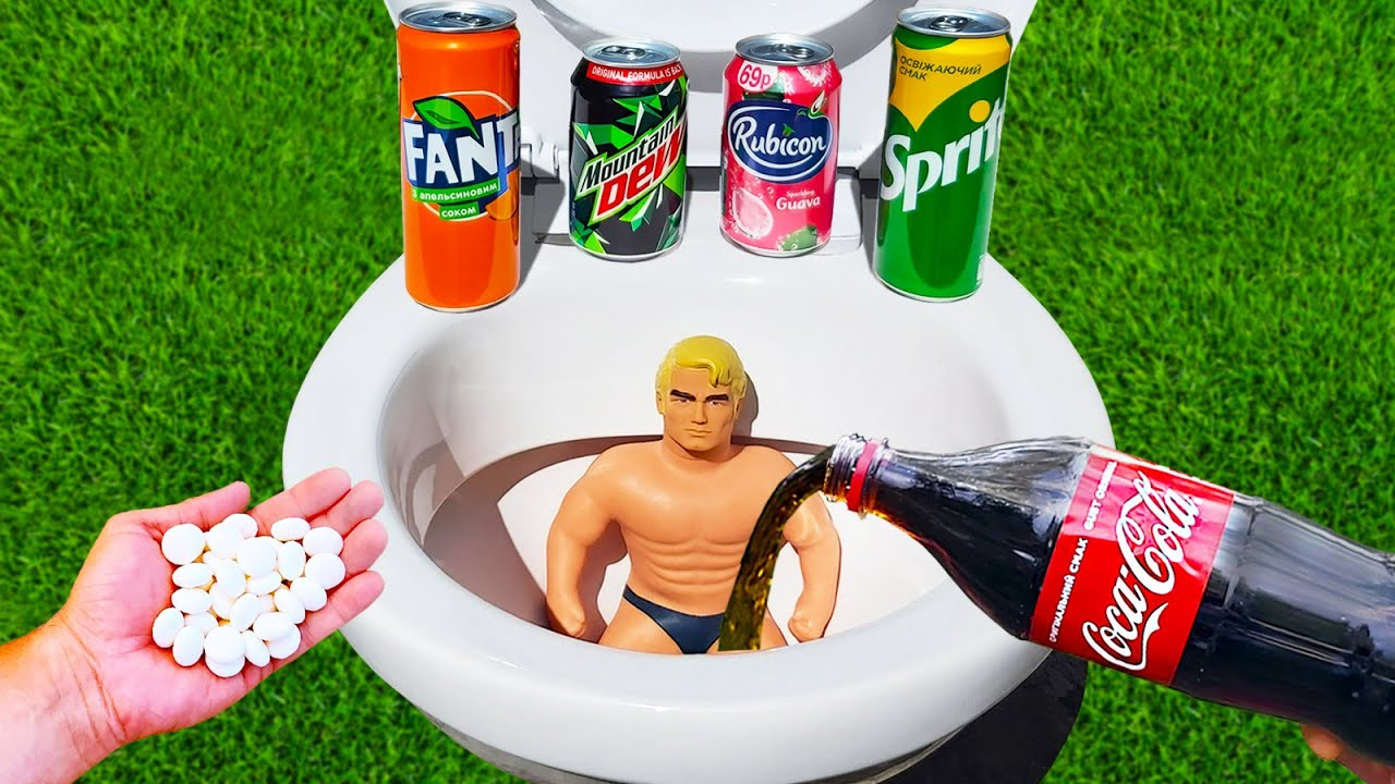 Experiment ! Stretch Armstrong vs Cola, Fanta, Mtn Dew, Sprite and Mentos in Toilet
