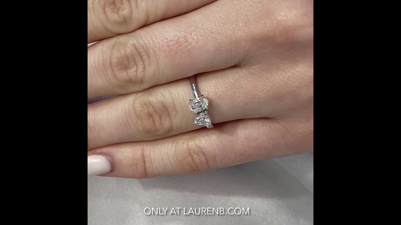 Oval and Heart Petite Diamond Duo Ring