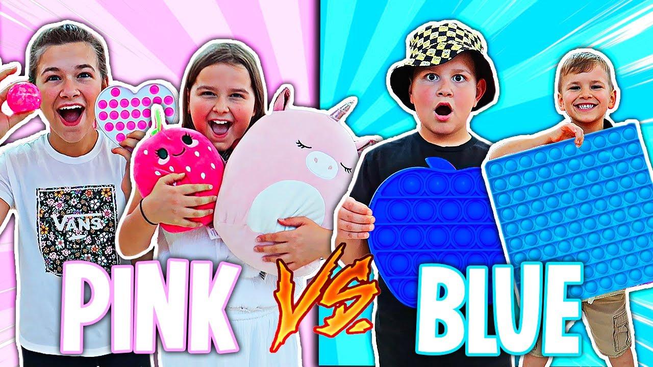 PINK VS BLUE FIDGET SHOPPING CHALLENGE!! 💗NO BUDGET💙   JKREW