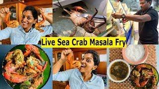 Singapore Live Sea Crab Masala fry in Tamil - Sunday Spl Cooking #NanduVaruval #Fry #Masala #Non-veg