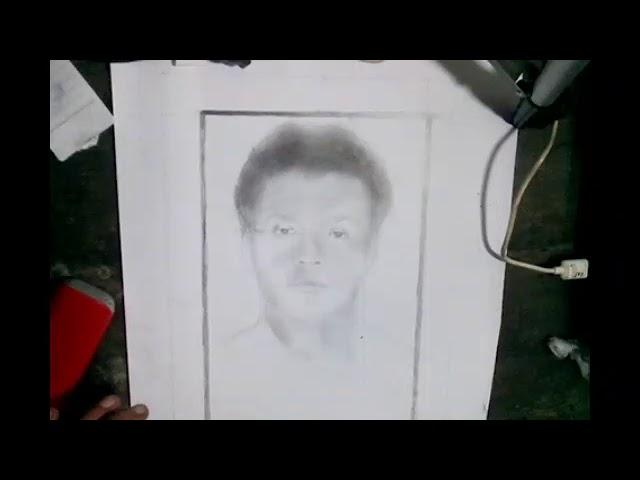 lukisan pensil realis : menggambar wajah sampai mirip tidak di percepat , realtime #2 #1