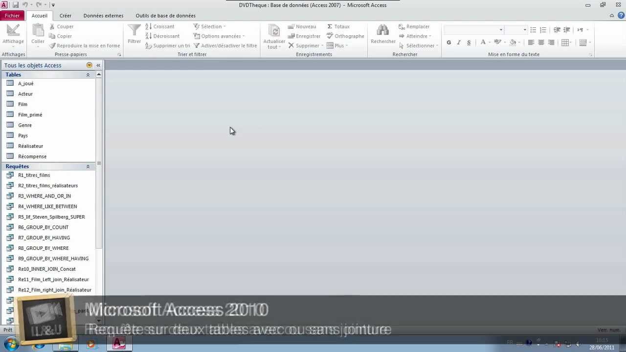 Microsoft Access 2010 Requete Sur Deux Tables A04 Youtube