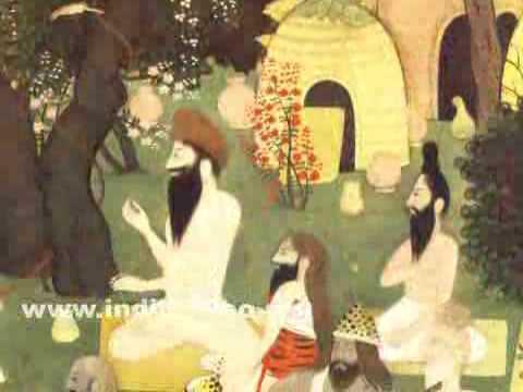 Rama, Sita and Lakshmana at the hermitage of Sage Bharadwaja