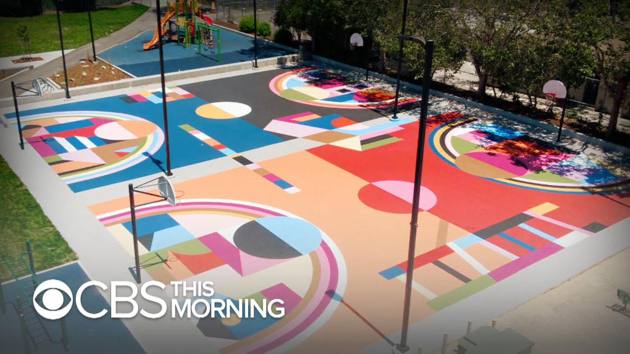 Basketball Courts With Colorful Murals
