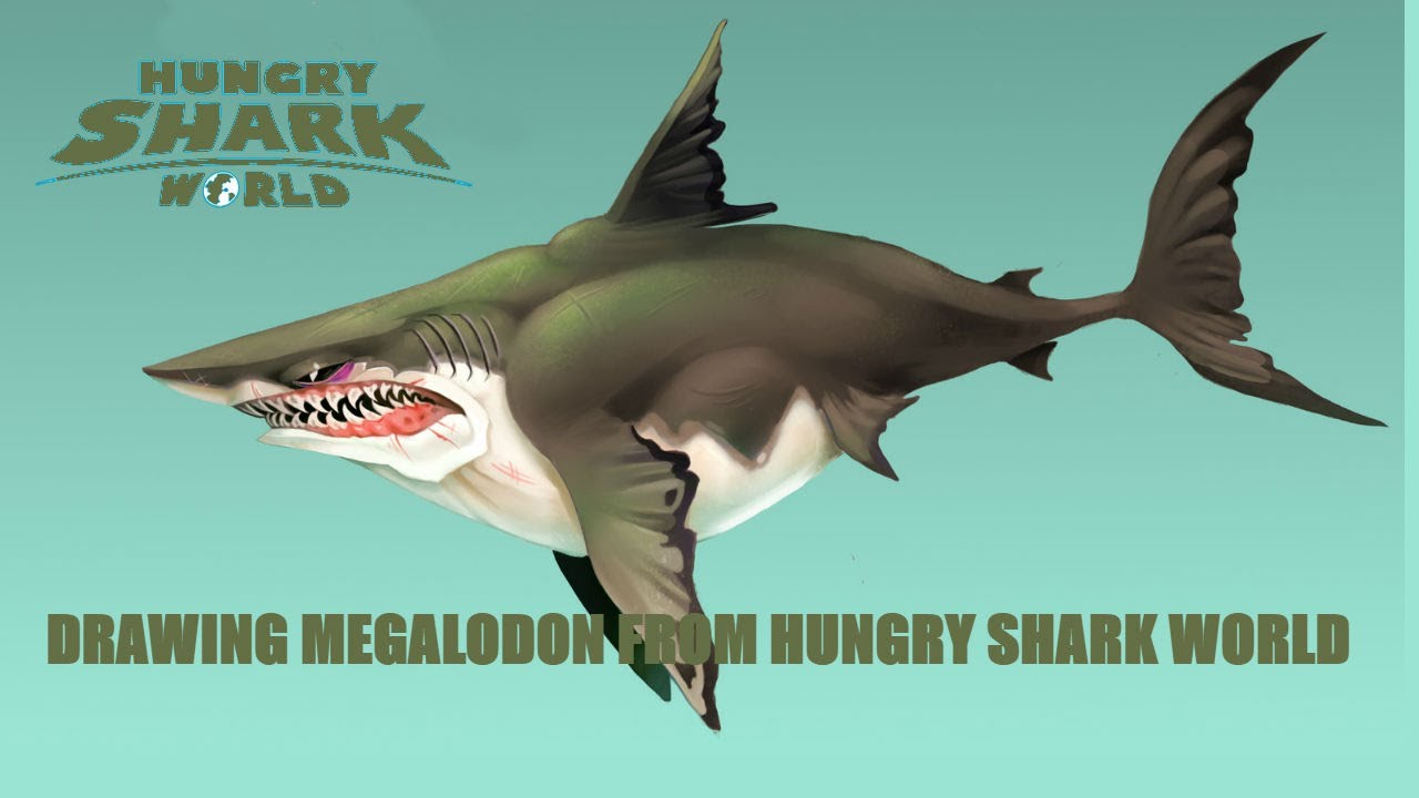Uncategorized Drawing Of Sharks drawing megalodon from hungry shark world youtube world