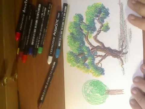 Howto Draw A Tree In Oil Pastels Part 2 Youtube