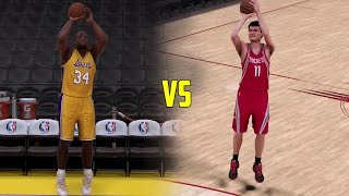 CAN SHAQ BEAT YAO MING IN A THREE POINT CONTEST? NBA 2K17 GAMEPLAY!