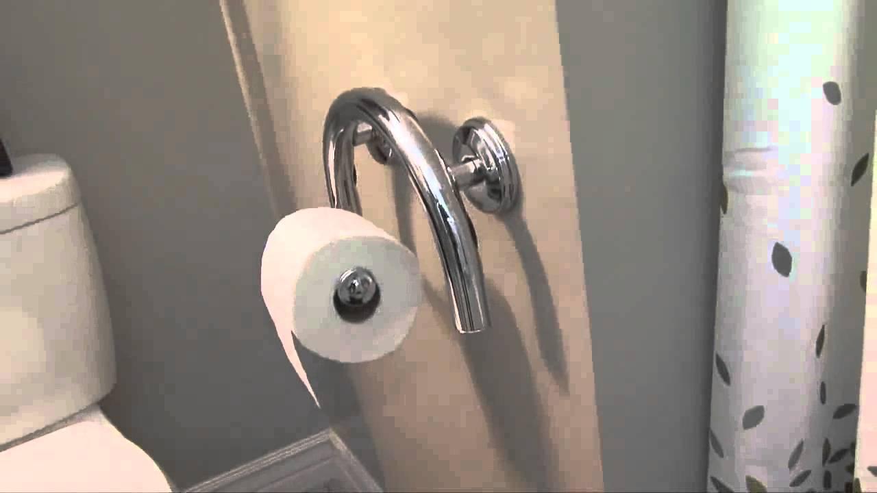 Toilet Paper Holder PLUS grab bar - YouTube