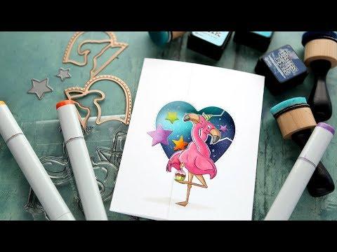 Twist Ties from Art Impressions! Flamingo Birthday Card