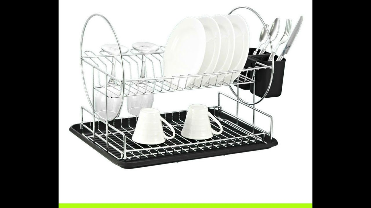deluxe chrome plated steel 2 tier dish rack with drainboard cutlery cup black youtube. Black Bedroom Furniture Sets. Home Design Ideas