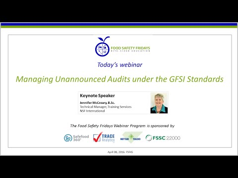 Managing Unannounced Audits under the GFSI Standards