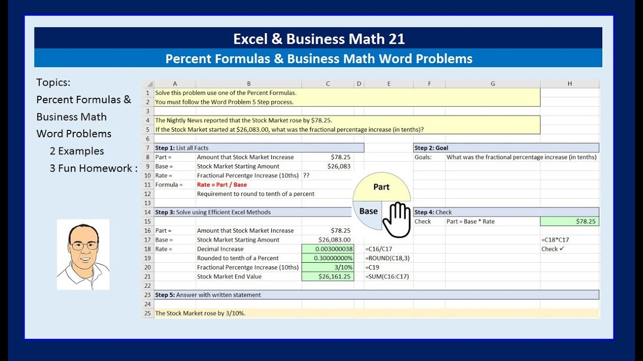 excel  u0026 business math 21  percent formulas  u0026 business math