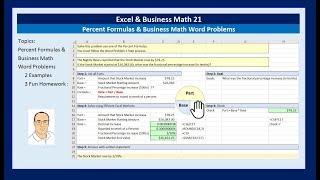 Excel & Business Math 21: Percent Formulas & Business Math Word Problems