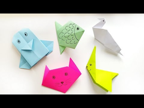 5 Easy Origami Animals Tutorial For Beginners - DIY Paper Crafts Ideas For Kids