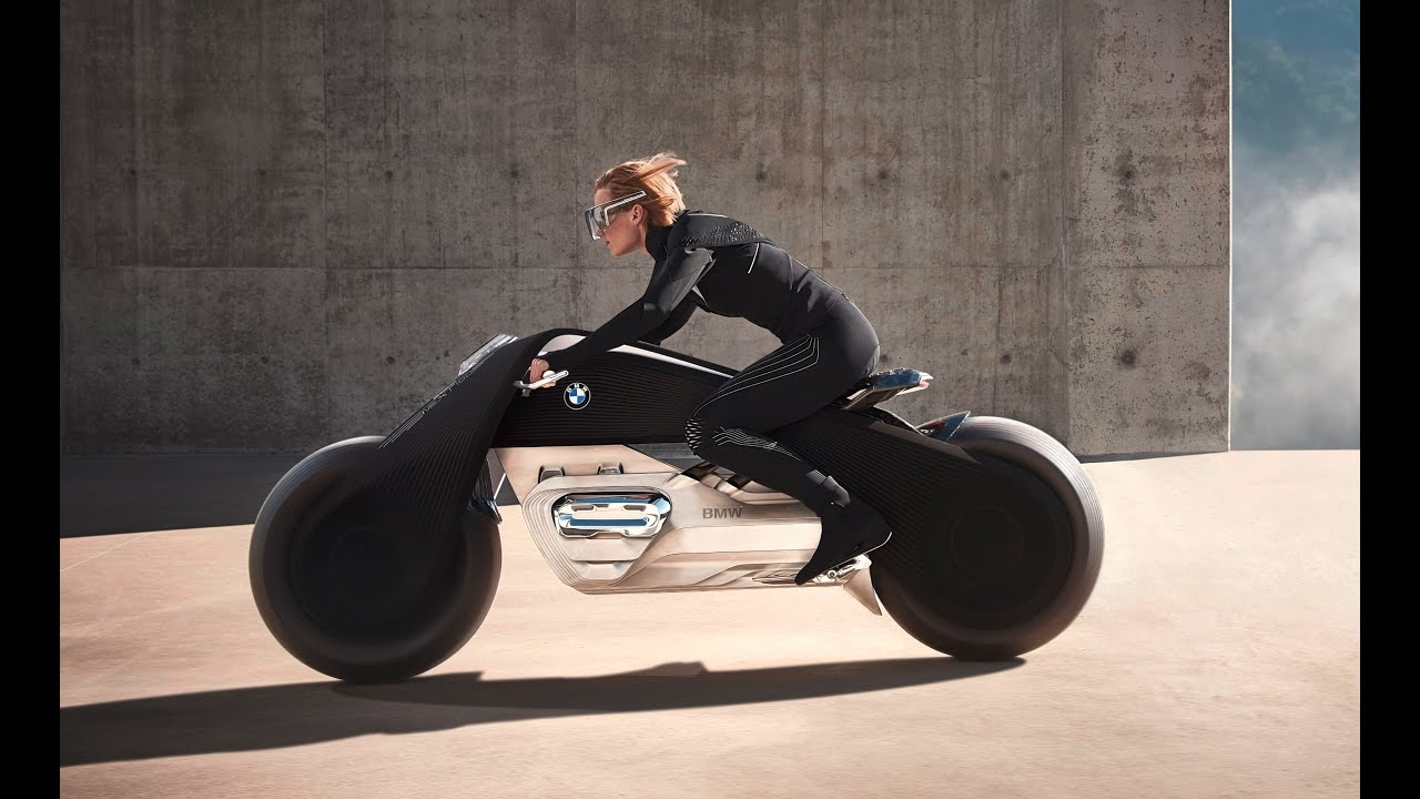 the bmw motorrad vision next 100 motorcyle, no helmet needed