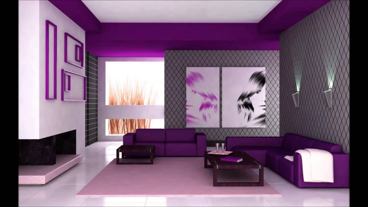 Interior Design Of Living Room With Purple Color