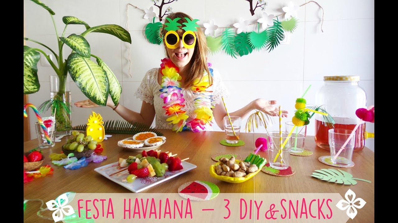 FESTA HAVAIANA 3 DIY& SNACKS ARTIMESOPHIA YouTube -> Decoração De Festa Havaiana Simples
