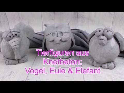 DIY | Tierisch kreativ | Tierfiguren Vogel, Eule & Elefant aus Knetbeton | Betondeko selber machen