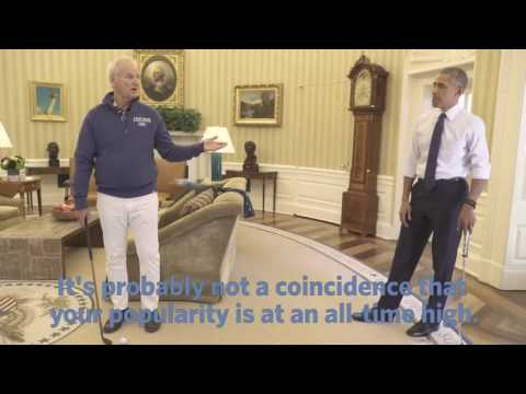 Barack Obama playing golf in the white house with bill Murray