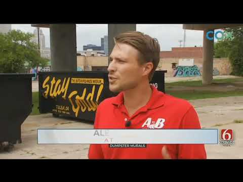 Tulsa Artist Company Team Up To Beautify Dumpsters - YouTube