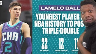 LaMelo Ball YOUNGEST PLAYER Triple-Double 22 Pts 12 Reb 11 Ast