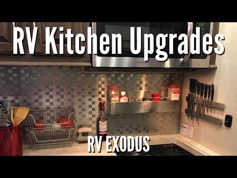 RV Fulltime Living | Kitchen Upgrades: Backsplash, Spice Rack, Knife Strip