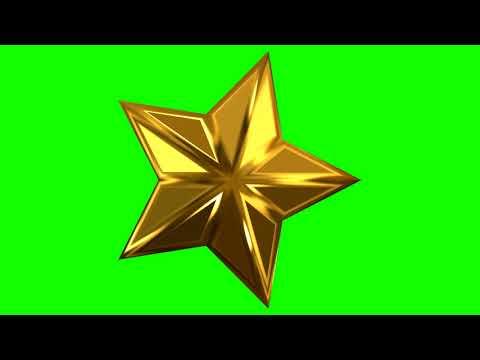 4K Green Screen Free - SPINNING 3D GOLD STAR