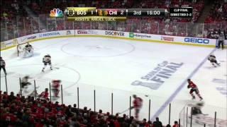 Zdeno Chara wicked slapshot goal 2-1. 6/22/13 Boston Bruins vs Chicago Blackhawks NHL Hockey