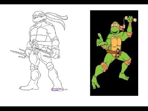 Como Dibujar y Pintar a Michelangelo Tortuga Ninja - YouTube