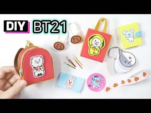 BT21 캐릭터 세트 만들기! DIY BT21 Miniature School Supplies l BTS