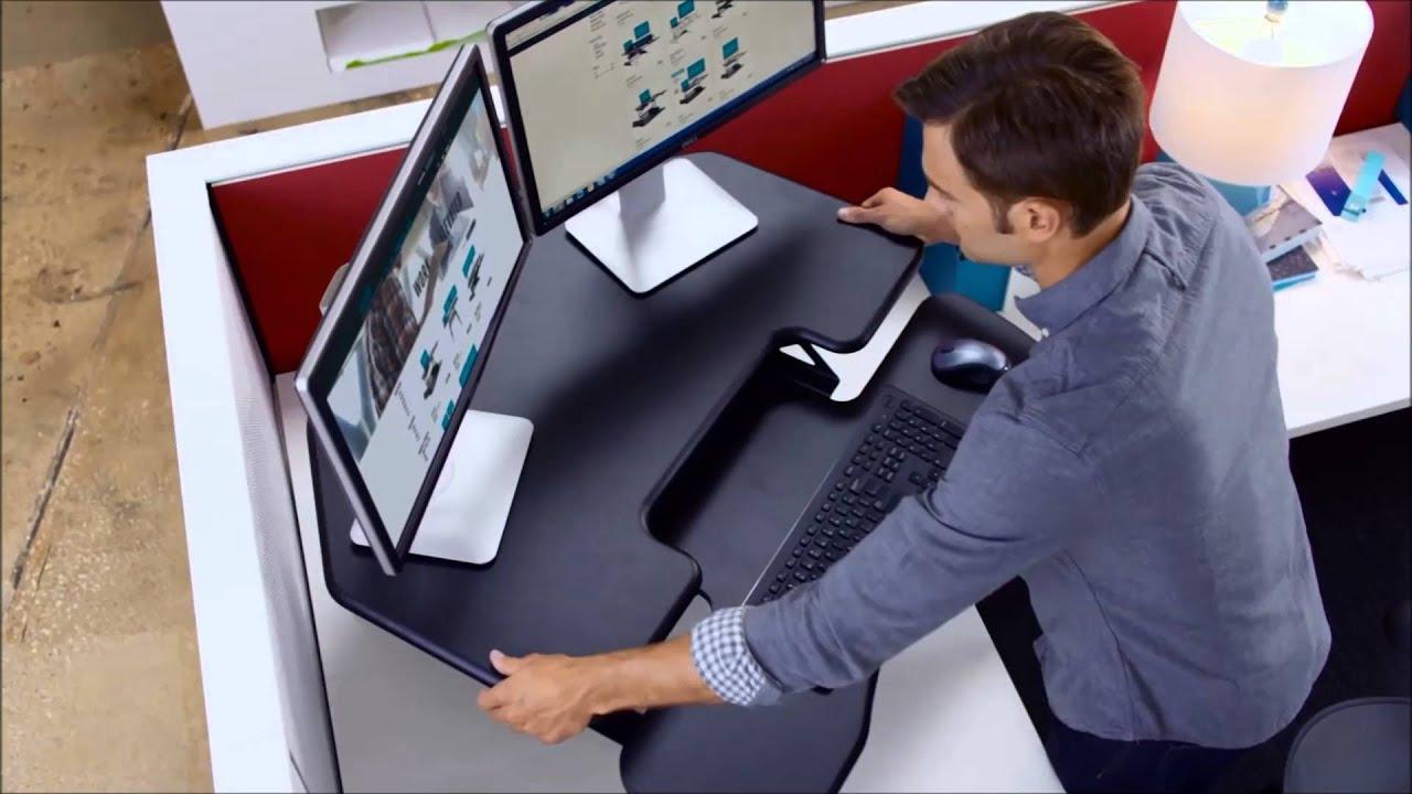 Varidesk Cube Corner 36 Sit Stand Desk Converter Youtube