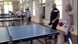 Great grandmother Shirley Harding lets  rip at Table Tennis